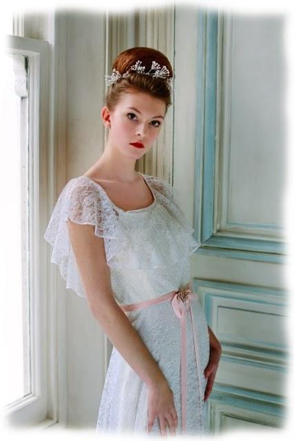 HVB vintage wedding blog, Real Vintage Brides feature - Studio picture of full length 1960s lace wedding dress