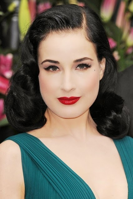 Heavenly Vintage Wedding Blog, hair to complement a 1940s wedding dress - Dita von Teese