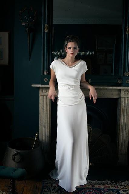 'BETTE' vintage wedding dress design. A flattering, glamorous 1940s style in drapey satin,