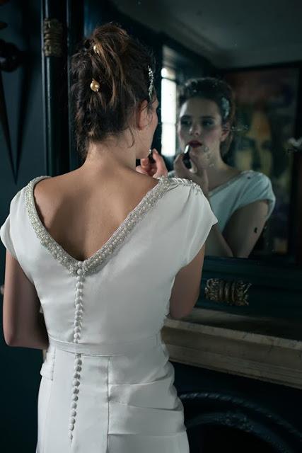 'BETTE' vintage wedding dress design. A flattering, glamorous 1940s style in drapey crepe satin,