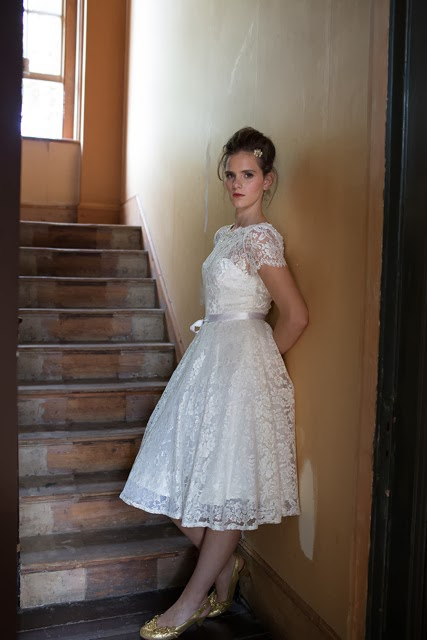 'BLANCHE' vinage wedding dress design. A sweet and flirty 1950s style in French lace.