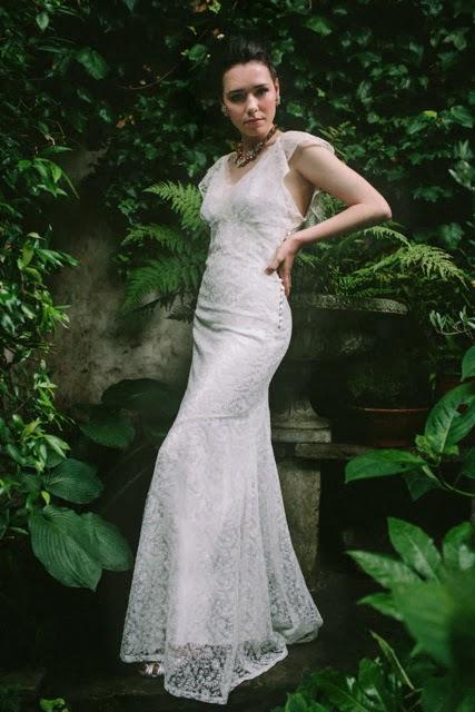 'BUTTERFLY' vintage wedding dress design - Romantic 1930s lace dress.