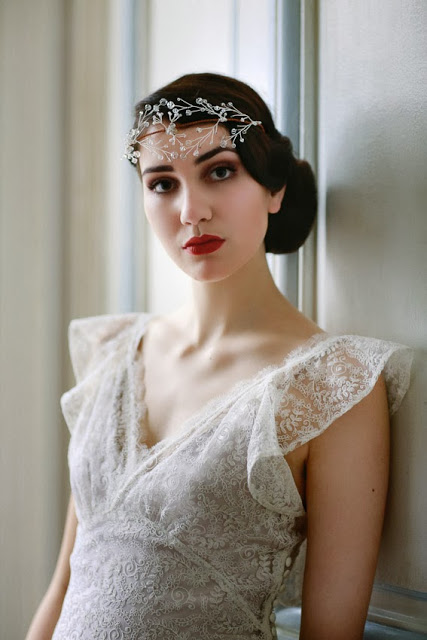 'BUTTERFLY' vintage wedding dress design. Romantic 1930s style in lace.