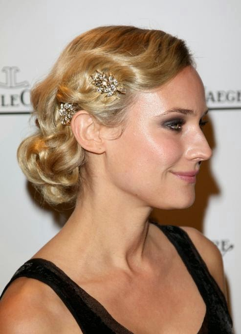 Heavenly Vintage Wedding Blog, hair to complement a 1930s wedding dress - Diane Kruger