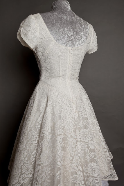 HVB original vintage 1950s lace wedding dresses - pretty knee-length lace dress, price £975