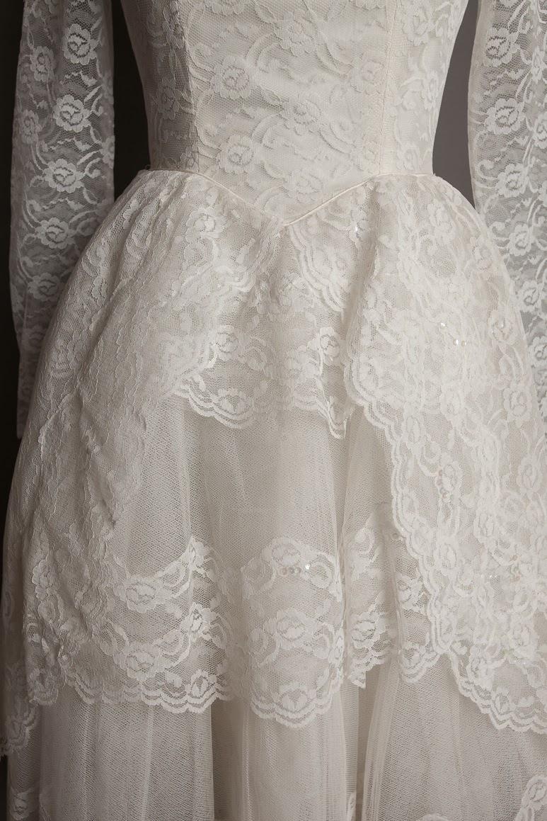 1950s lace wedding dress, 'cupcake' style, c Heavenly Vintage Brides