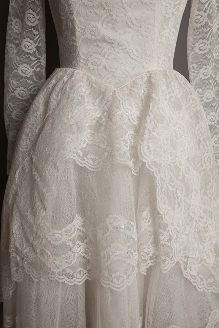 HVB vintage 1950s lace wedding dresses - 'cupcake' wedding dress, priced £950