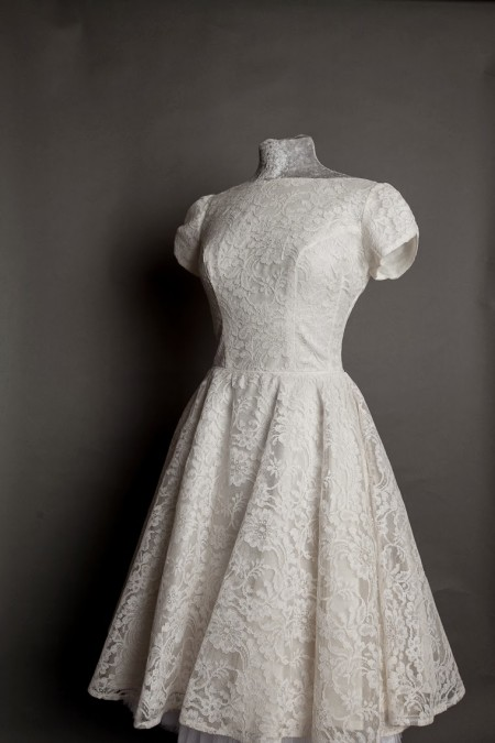 tea length lace alternative wedding dress