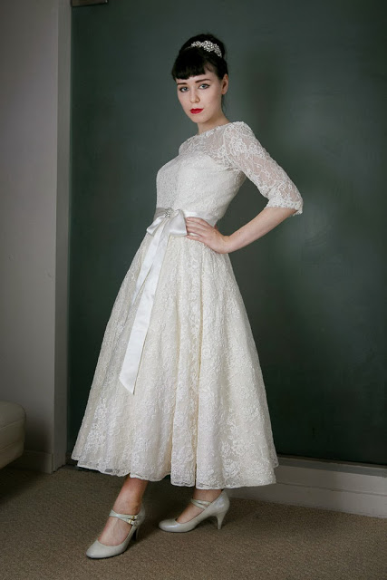 1950s Vintage Wedding Dress 'Blanche' c. HEAVENLY VINTAGE BRIDES -