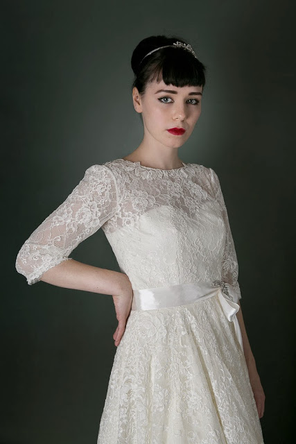 1950s Vintage Wedding Dress 'Blanche' c. HEAVENLY VINTAGE BRIDES