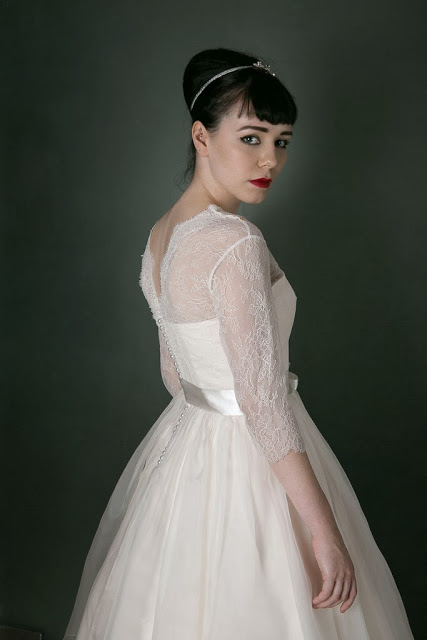 1950s Vintage Wedding Dress 'Chantilly' c. HEAVENLY VINTAGE BRIDES - delicate French lace three-quarter sleeves