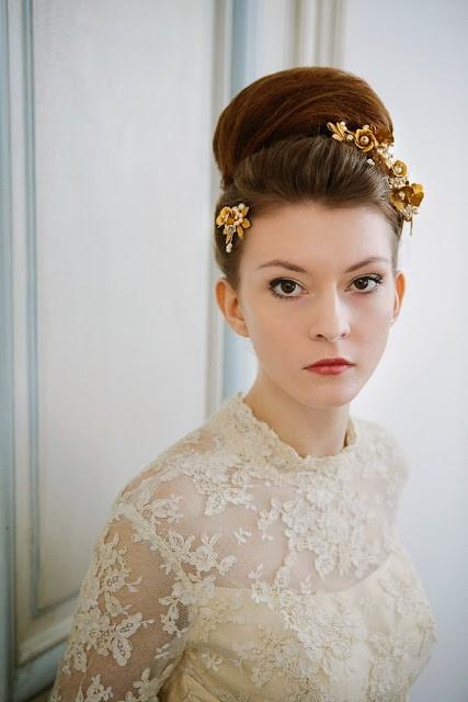 elegant vintage wedding dress with sleeves and high neckline