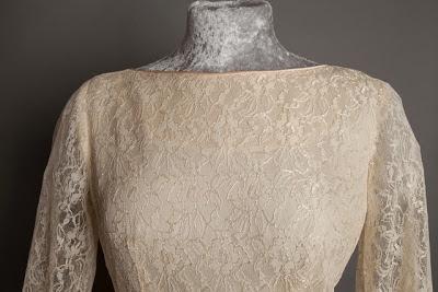 Detail of boat neck, A guide to vintage lace wedding dresses, c Heavenly Vintage Brides,