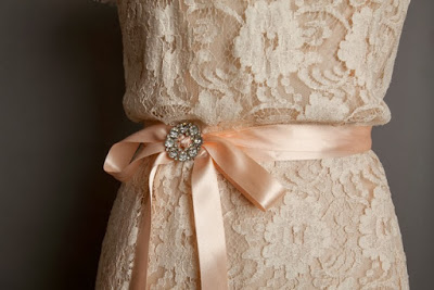 Real vintage lace wedding dress, Heavenly Vintage Brides, detail of pastel colour and satin ribbon tie