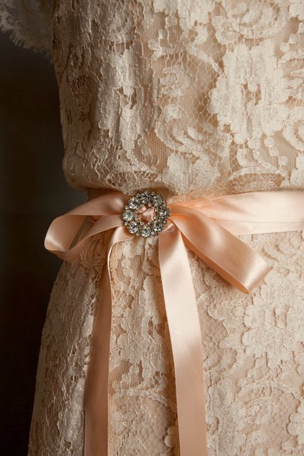 1950s lace wedding dress, c Heavenly Vintage Brides vintage wedding blog 2013 - detail of blush colour and satin belt