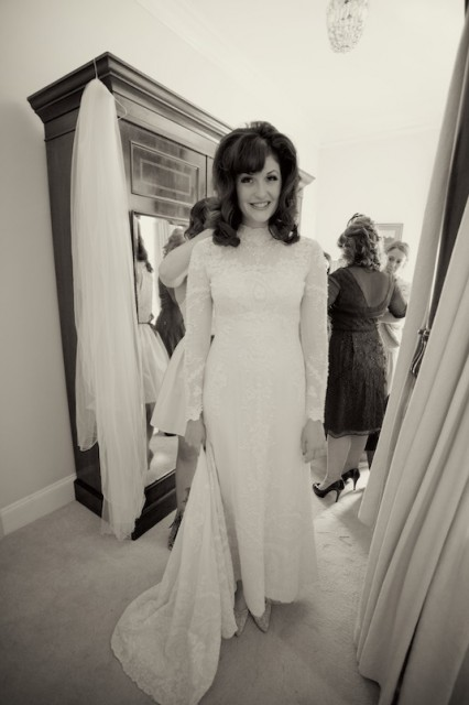 Lovely real vintage bride Carlye in vintage 60s wedding dress