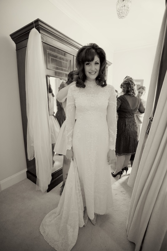 Lovely real vintage bride Carlye in vintage 60s wedding dress