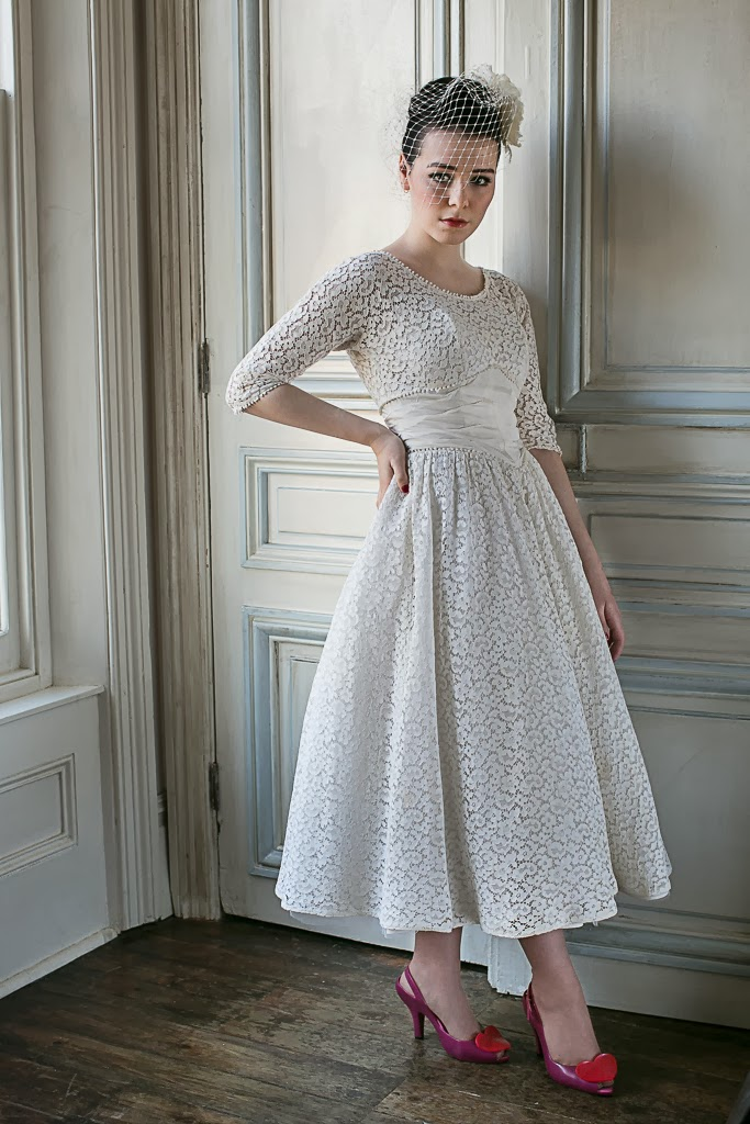 1950s wedding dresses c Heavenly Vintage Wedding Blog, cotton lace dress £950