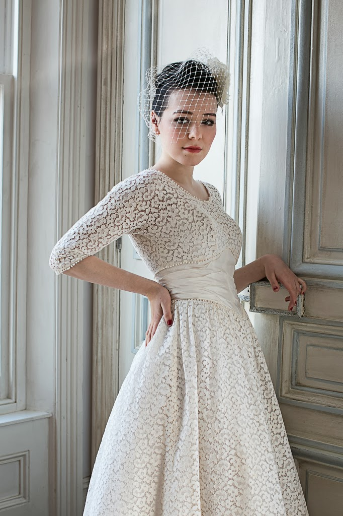 1950s lace wedding dresses, cotton lace wedding dress £950