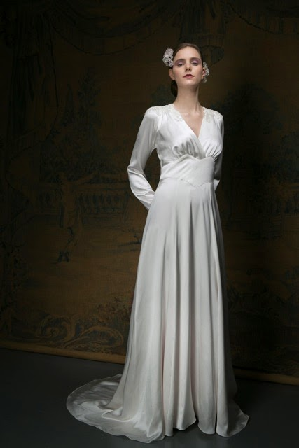 1940s style wedding dress - full-length image with long sleeves