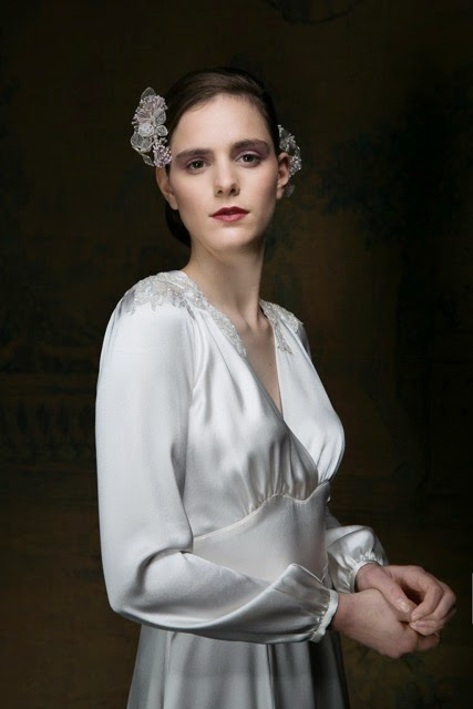 Satin sleeves and lace overlay on 1940s inspired wedding dress