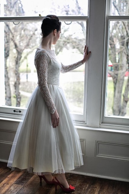 50s wedding dress long lace sleeves