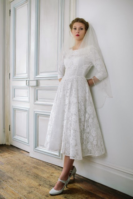 50s tea length vintage wedding dress