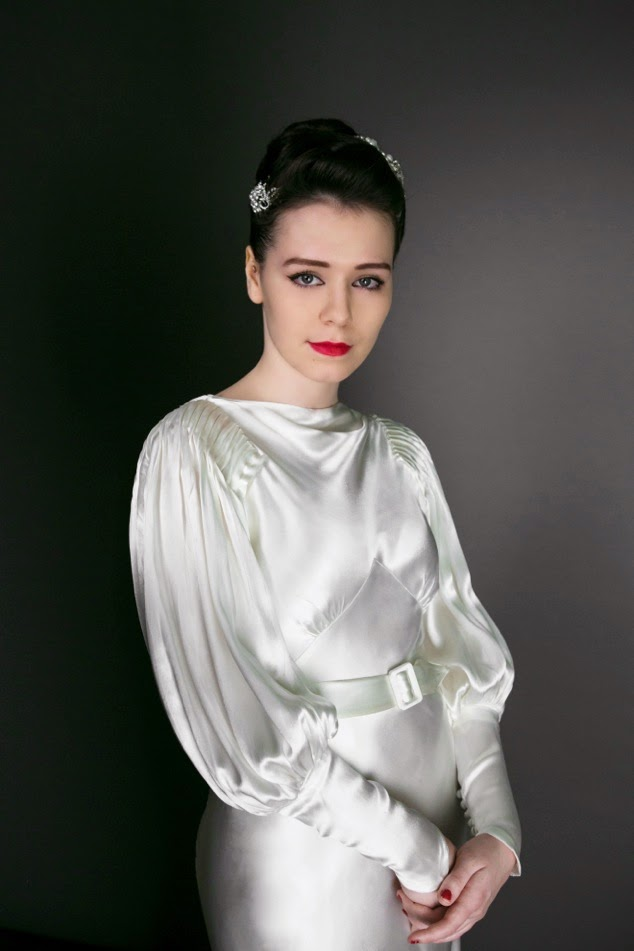 30s Deco satin dress alternative wedding