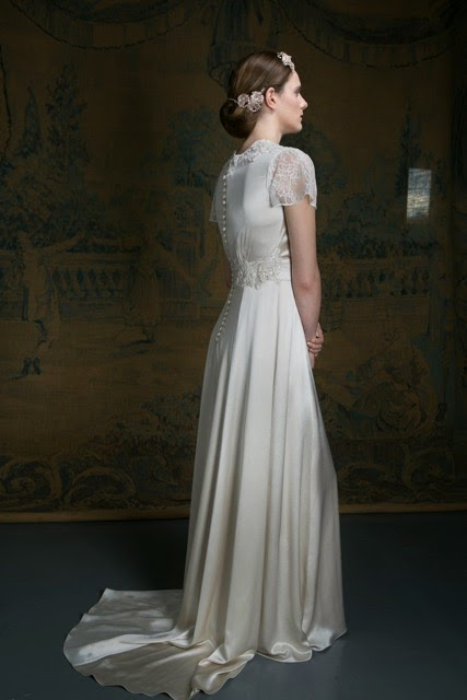 1940s style wedding dress, Florence, with flutter sleeves