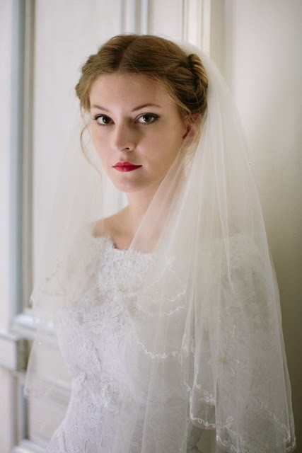 Vintage 1950s lace wedding dress, price £995 (close-up with veil)