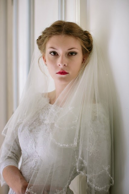 1950s lace dress, bodice and veil. Dress £995, from Heavenly Vintage Brides London