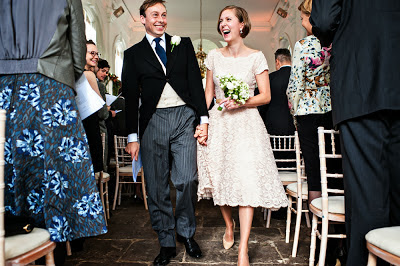 Vintage wedding blog c Heavenly Vintage Brides, real vintage bride Leo walks down the aisle in 1950s lace wedding dress