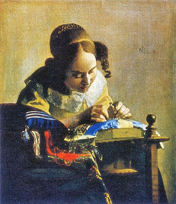 """Vermeer's """"The Lacemakers"""" painting, A guide to vintage lace wedding dresses, c Heavenly Vintage Brides"""