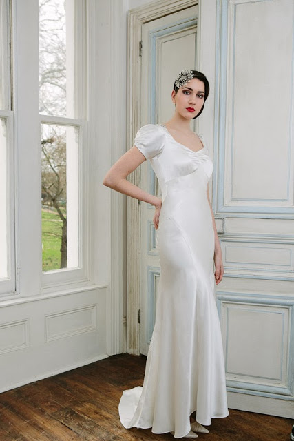 'VIOLETTE', a 1930s vintage wedding dress design in slinky and sophisticated satin