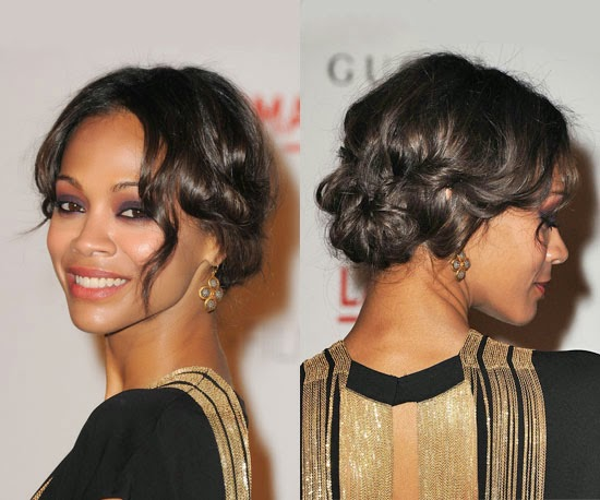 Hairstyles for 1930s and 1940s vintage wedding dresses heavenly zoe saldana with 1930s inspired curls and updo pmusecretfo Image collections