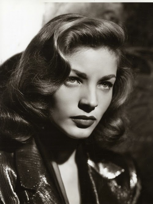 Heavenly Vintage Wedding Blog, hair to complement a 1940s wedding dress - Lauren Bacall