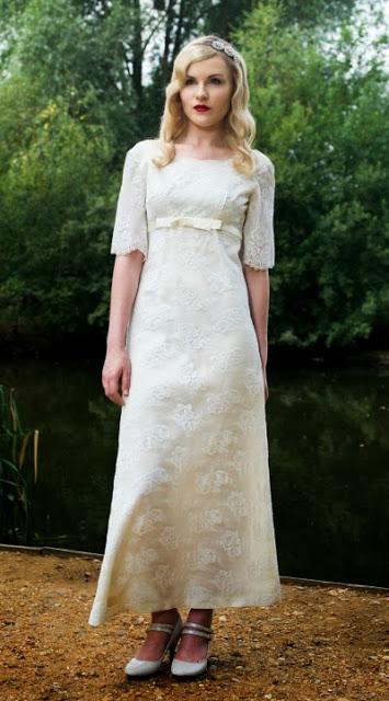 Ankle-skimming Babydoll style,1960s wedding dresses c. Heavenly Vintage Brides vintage wedding blog 2013