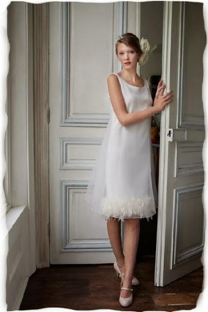 John Bates ostrich feather trimmed 1960s wedding dress c. HVB vintage wedding blog 2013