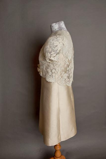 1960s Cardin style vintage wedding dress, side view showing lace top, c HVB vintage wedding blog 2013
