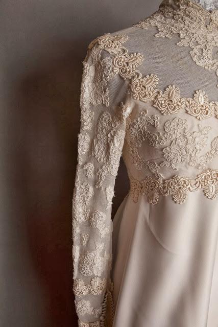 Detail of 1960s vintage wedding dress by Priscilla Kidder, c. Heavenly Vintage Brides vintage wedding blog 2013