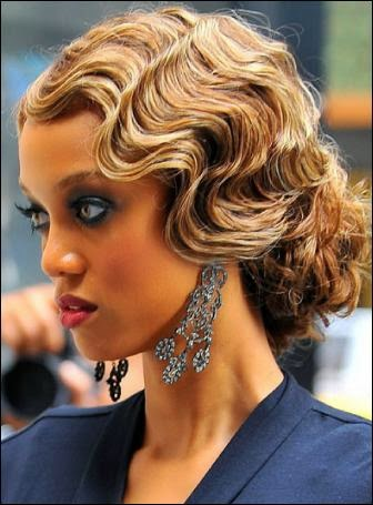 Heavenly Vintage Wedding Blog, hair to complement a 1930s wedding dress - Tyra Banks