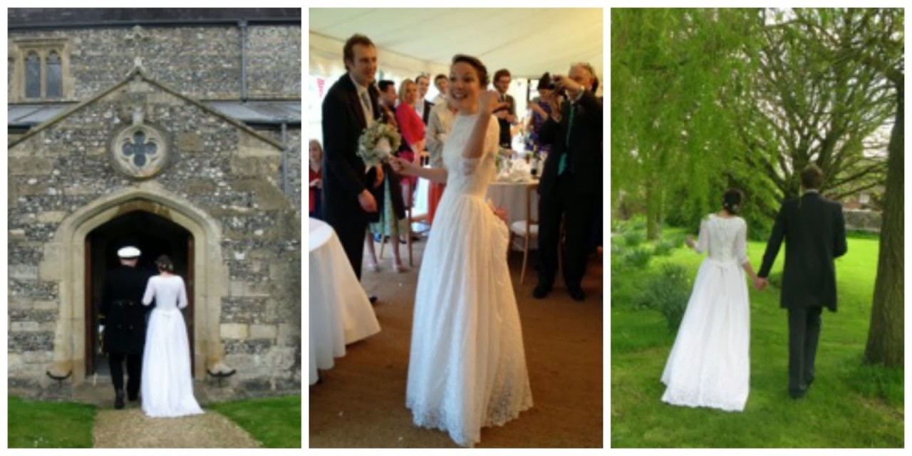 1950s wedding dresses, c Heavenly Vintage blog, real bride Ali at the reception and walking from the church